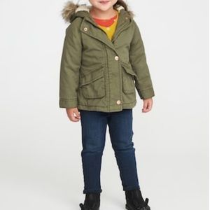Old Navy - Green Hooded Jacket with Faux Fur Trim
